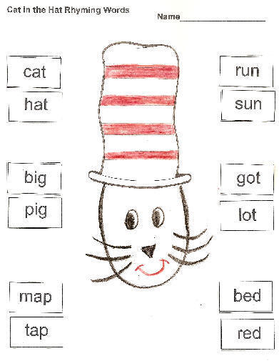 Cat in the Hat Rhyming Words. Practice rhyming words.