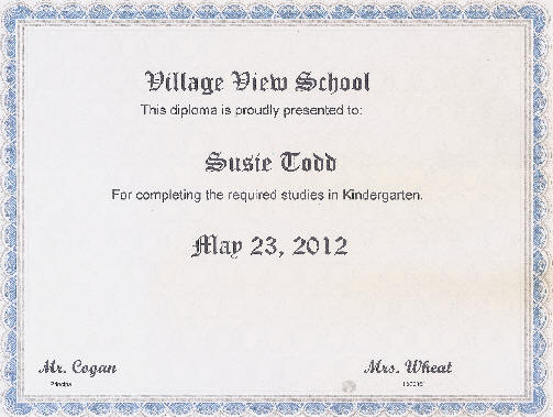 Kindergarten Certificates – Sample Graduation Certificate