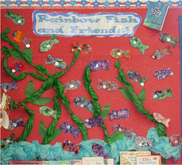 bulletin board ideas for january pictures. Patterns and directions are given to make rainbow fish and a bulletin board
