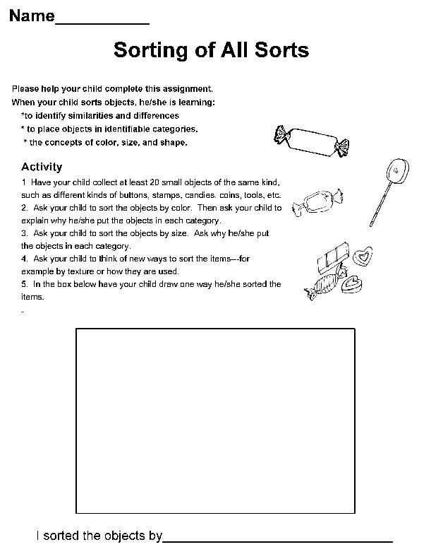 September Kindergarten Homework