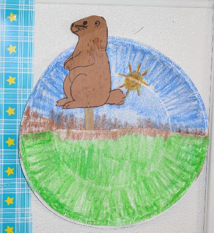 لعبه لطفلك من الاطباق الورقيه،كيف تصنعي لعبه لطفلك من الاطباق الورقيه GroundhogPaperPlate2.jpg