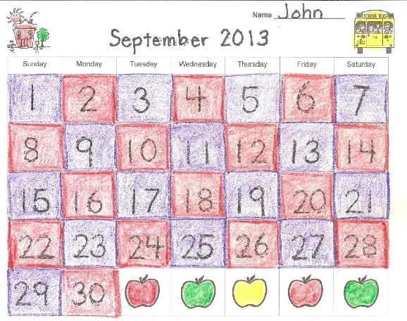 Monthly Activity Calendar For Kindergarten : September kindergarten